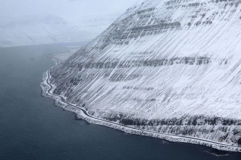 Roads in the West Fjords are covered in snow.