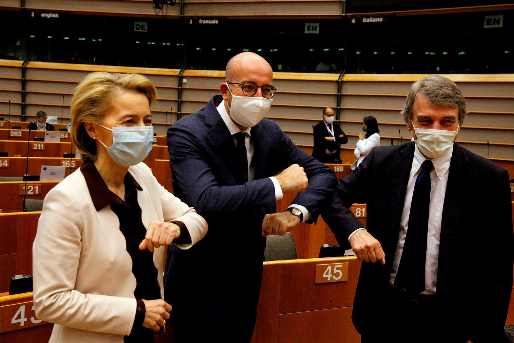 Ursula von der Leyen, Charles Michel og David Sassoli, forseti …