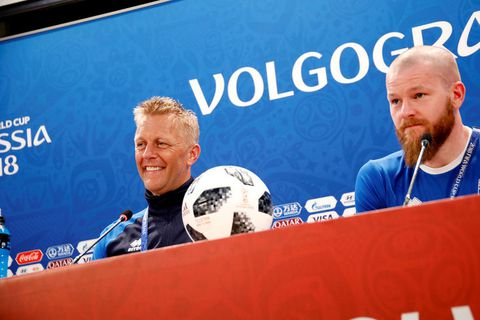 Heimir Hallgrímsson and Aron Einar Gunnarsson at a press conference in Volgograd arena this morning.