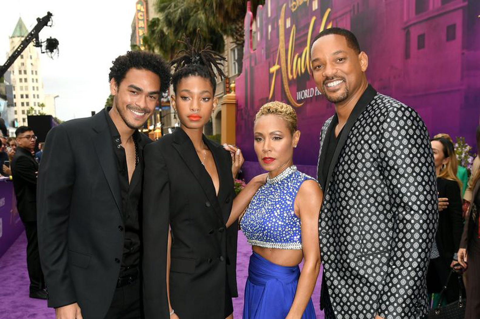 Trey Smith, Willow Smith, Jada Pinkett Smith og Will Smith.