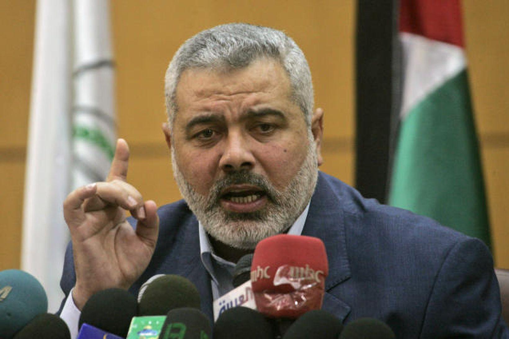 Ismail Haniyeh, forsætisráðherra Hamas-samtakanna á Gasasvæðinu, er hann flutti ræðu …