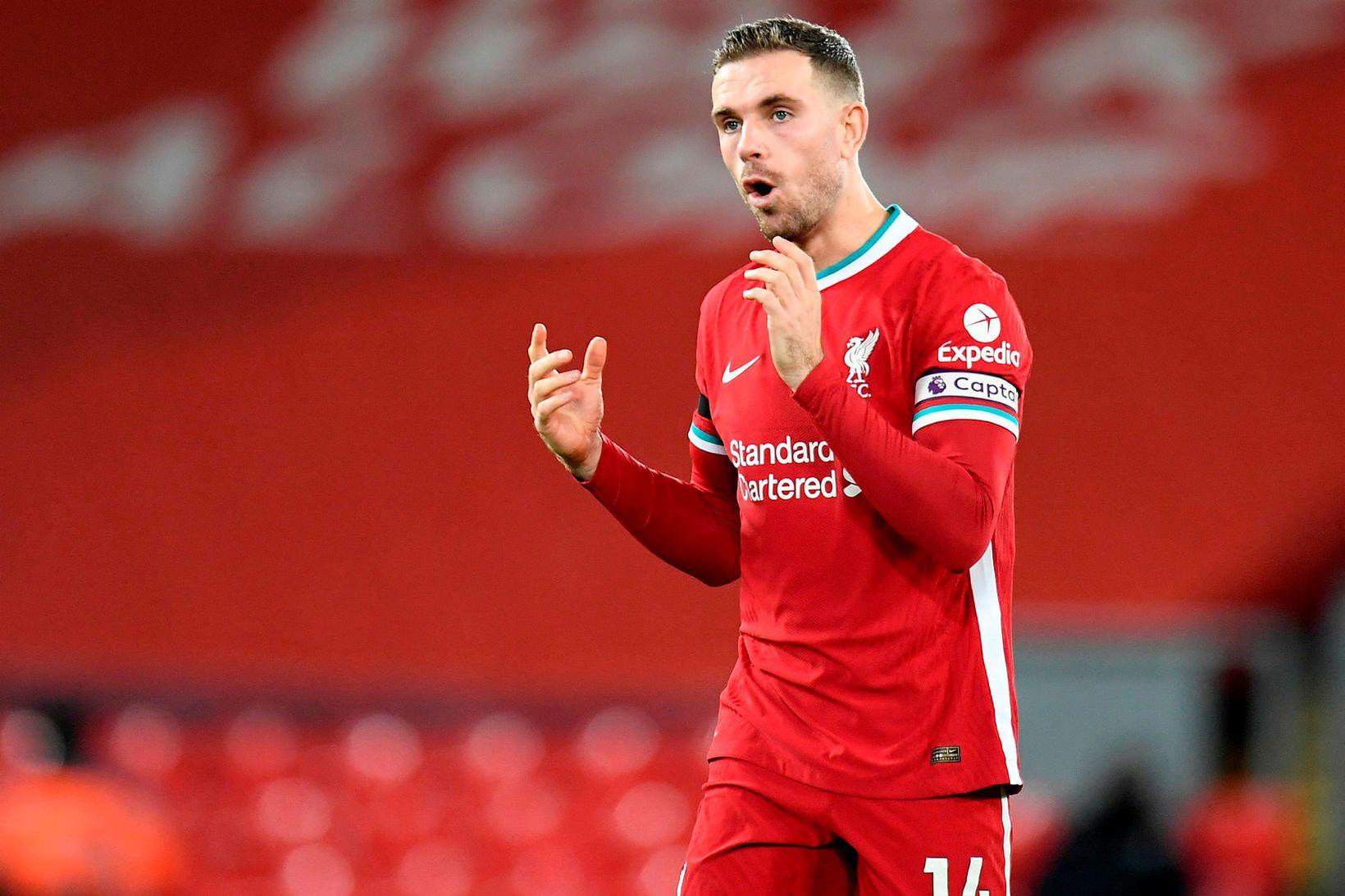 Jordan Henderson lék síðast með Liverpool í febrúar gegn Everton.