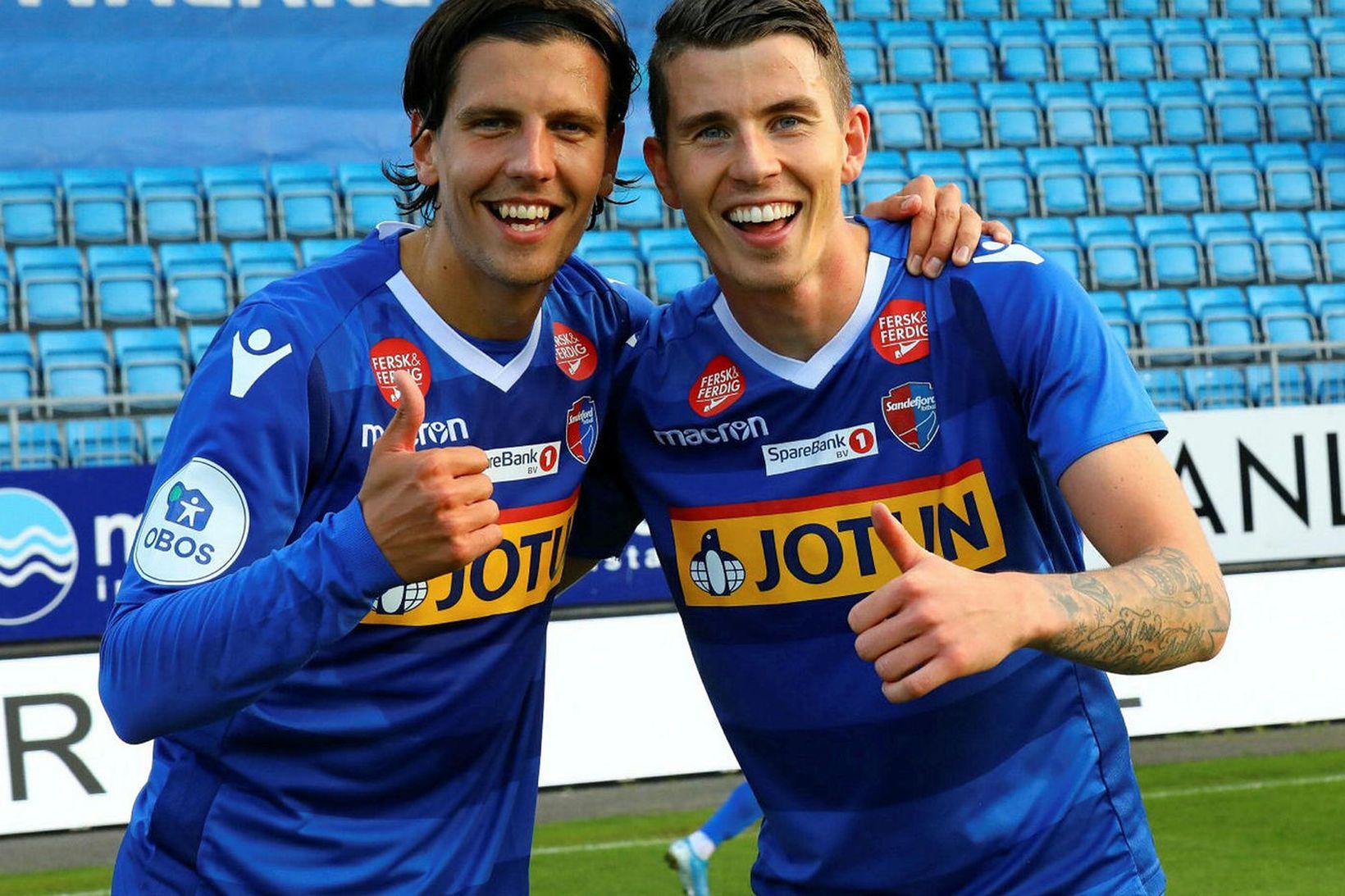 Emil Pálsson og Viðar Ari Jónsson leika með Sandefjord.