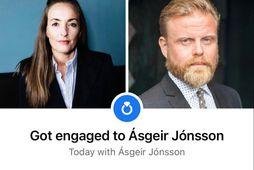 Helga Viðarsdóttir og Ásgeir Jónsson eru trúlofuð.