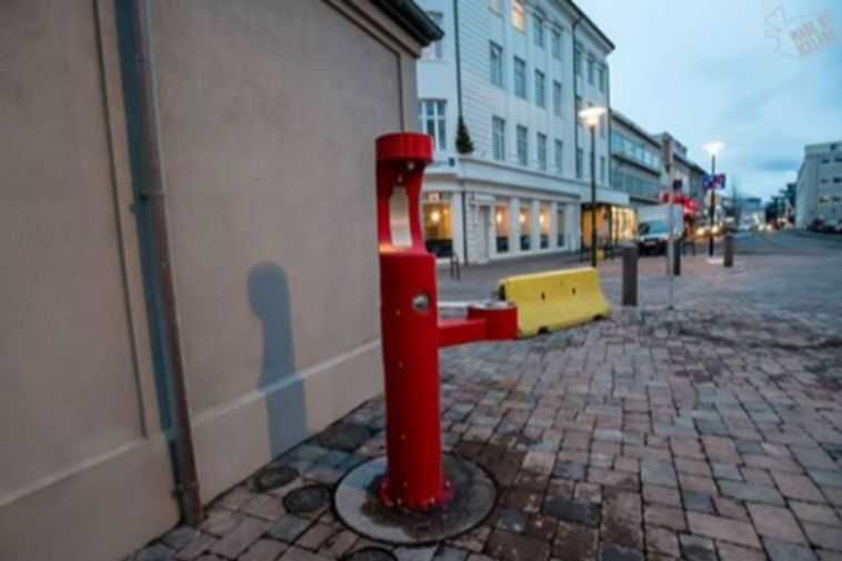 Drinking fountain in downtown Reykjavík.