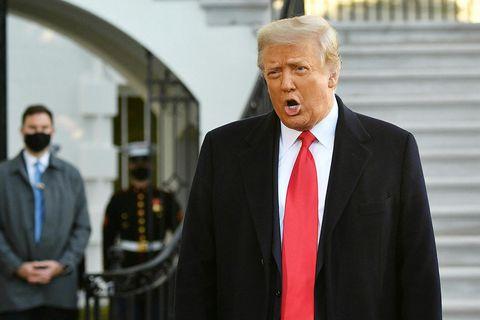 Donald Trump er hann yfirgaf Hvíta húsið á dögunum.