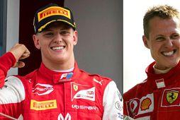 Feðgar - Michael Schumacher (t.h.) fagnar sigri í Monza 2006. Á þessari samsettu mynd er …