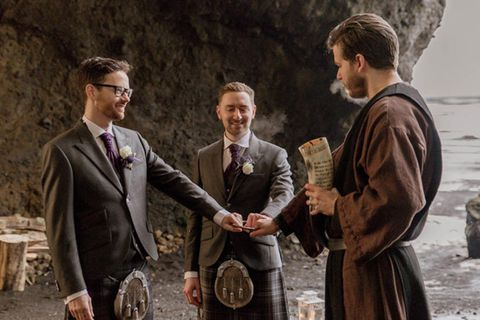 Pagan chieftain Haukur Bragason weds Scottish gay couple Paul and Marc Aitken at Hjörleifshöfði.