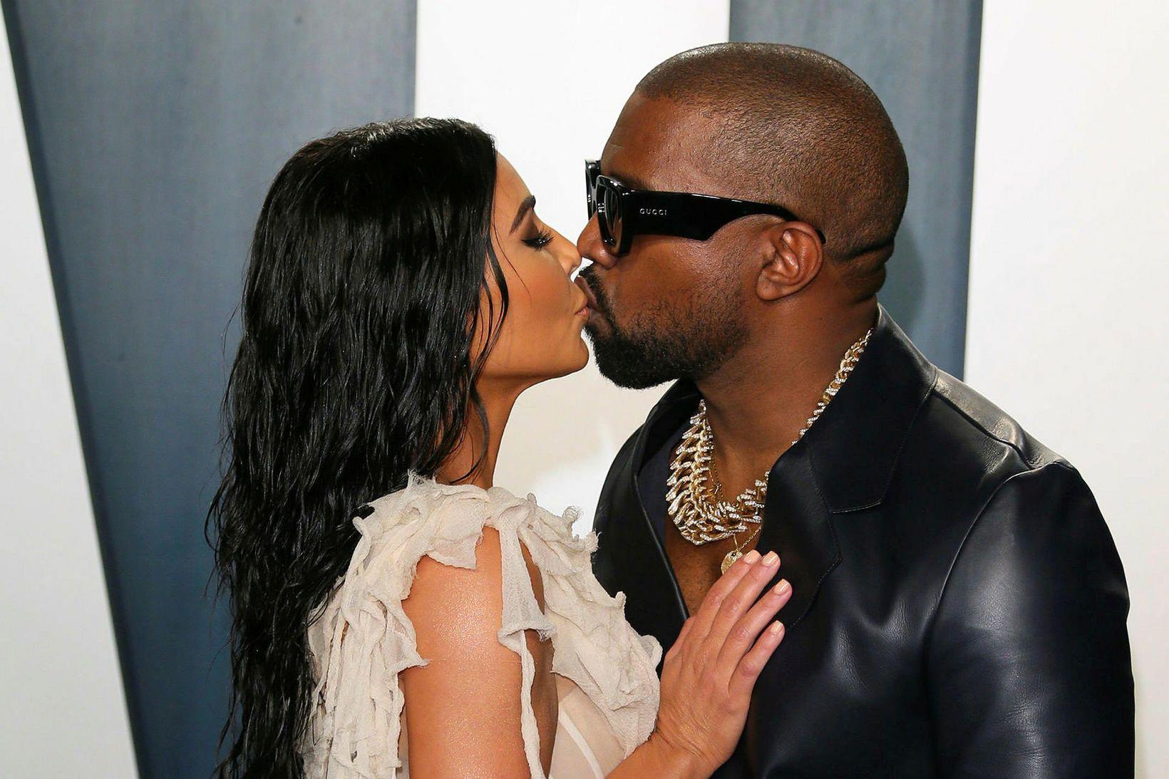 Kim Kardashian og Kanye West í febrúar á þessu ári.