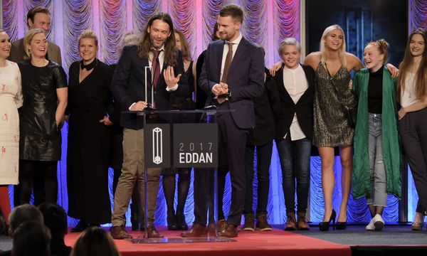 The director, crew and cast of Hearstone receiving the award.