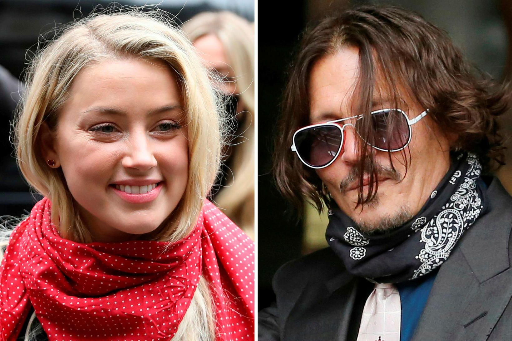 Amber Heard og Johnny Depp við réttarhöldin.