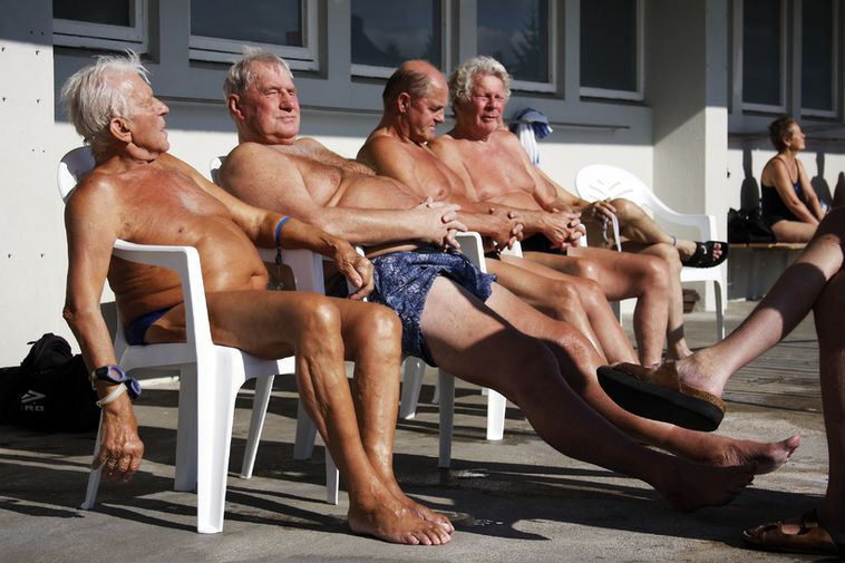 The pools are a popular meeting place for pensioners in Iceland who enjoy a healthy, …