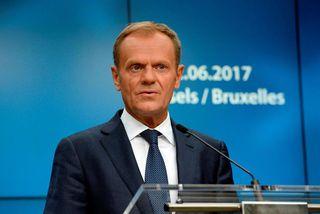 Donald Tusk, forseti leiðtogaráðs Evrópusambandsins, í Brussel í dag.