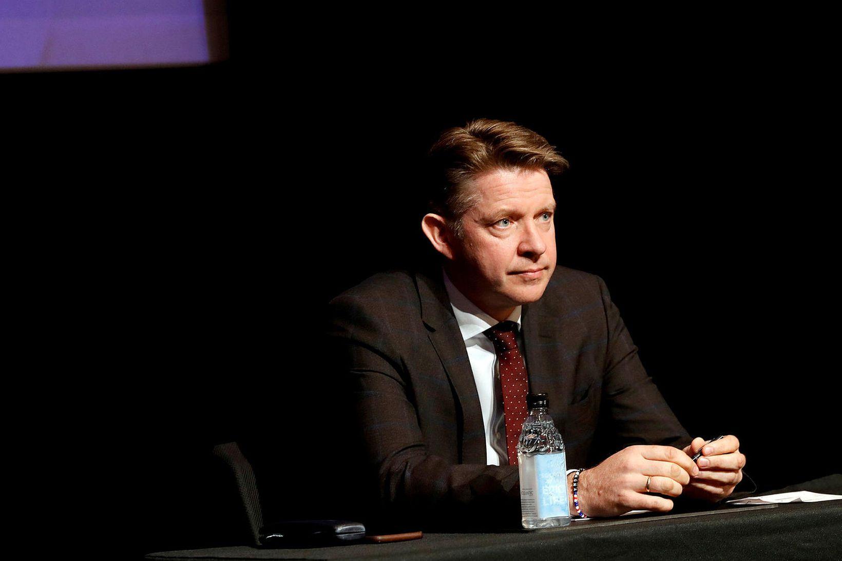 Bogi Nils Bogason, forstjóri Icelandair, á fundi fyrra á árinu …