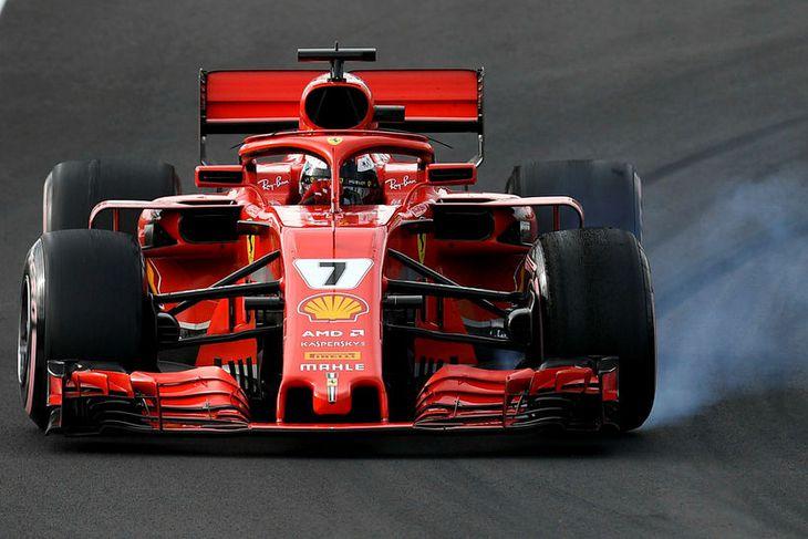 Kimi Räikkönen í Barcelona í dag.