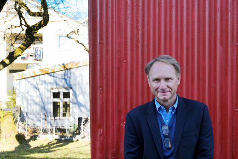 Dan Brown taking a walk around Reykjavik.