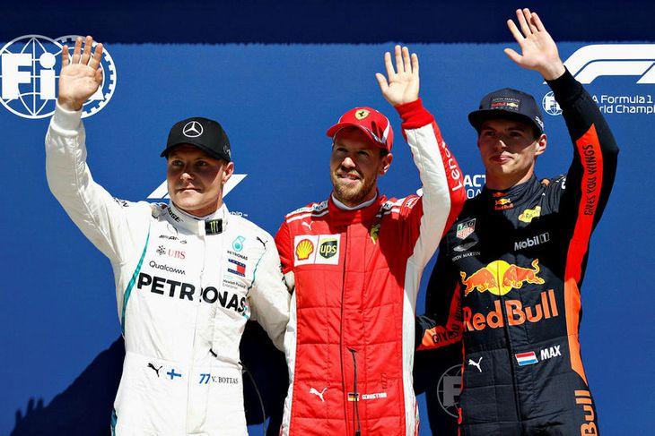 Þrír efstu í tímatökunni í Montreal, f.v.: Valtteri Bottas, Sebastian Vettel og Max Verstappen.