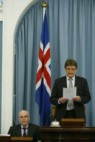 Guðbjartur Hannesson, forseti Alþingis, í kvöld.