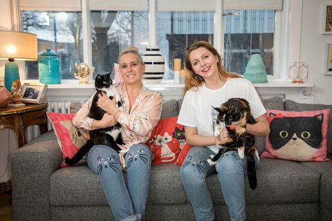 Ragnheiður Birgisdóttir  on the left and Gígja Sara Björnsson on the right, the women behind the new cat café.