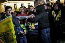 Stuðningsmenn Nantes komu saman í gærkvöldi og hugsuðu til Emiliano Sala.