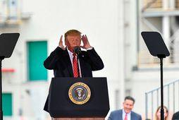 Donald Trump Bandaríkjaforseti. Fulltrúadeild Bandaríkjaþings samþykkti í dag að gefa þinginu fulla heimild til að …