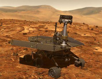 Tölvuteiknuð mynd af farinu á Mars.