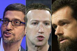Sundar Pichai, Mark Zuckerberg og Jack Dorsey sitja fyrir svörum á fundi þingnefndar.