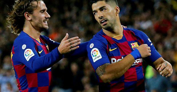 Luis Suárez og Antoine Griezmann fagna marki með Barcelona.