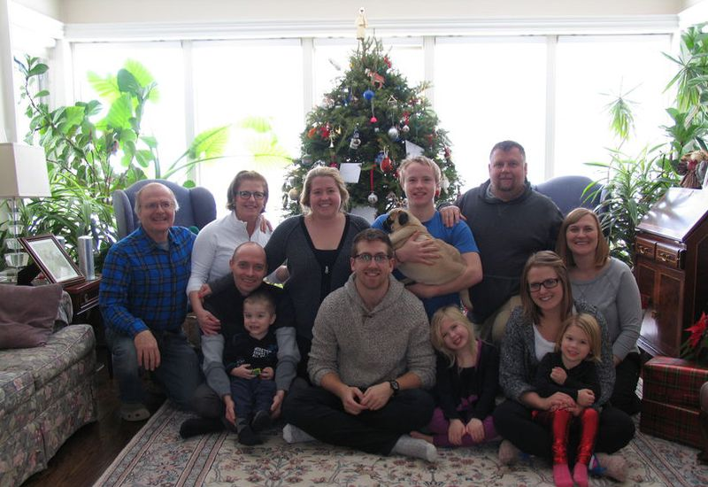 A photograph of Michael Boyd, to the left, his wife Shelagh Donovan who died in the accident, and their family.