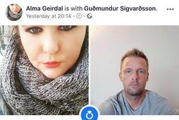 Alma Geirdal og Guðmundur Sigvarðsson trúlofuðu sig í gær.