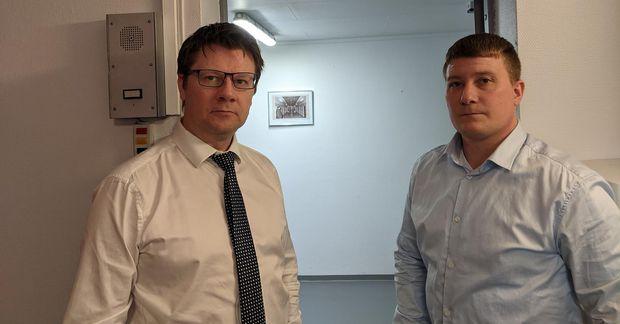 Bjørn Andre Gulstad verjandi og Gunnar Jóhann Gunnarsson í fangelsinu í Vadsø í Finnmörk þar …