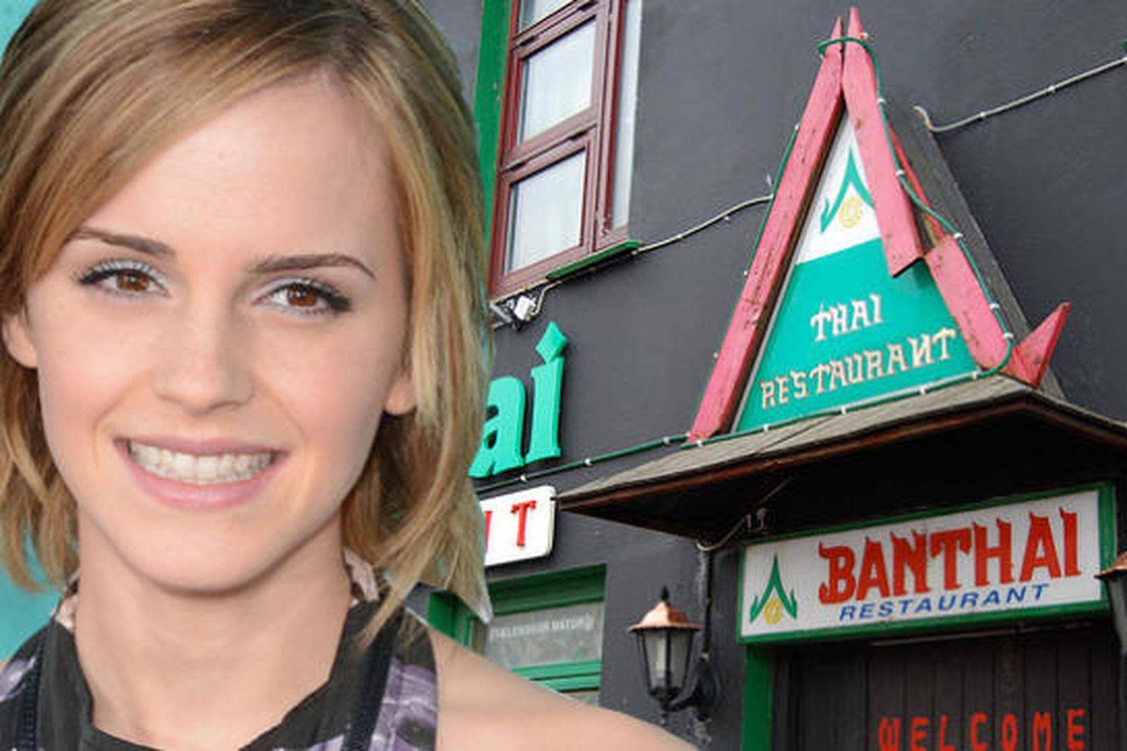 Emma Watson borðaði á Banthai í gærkvöldi ásamt vinum sínum.