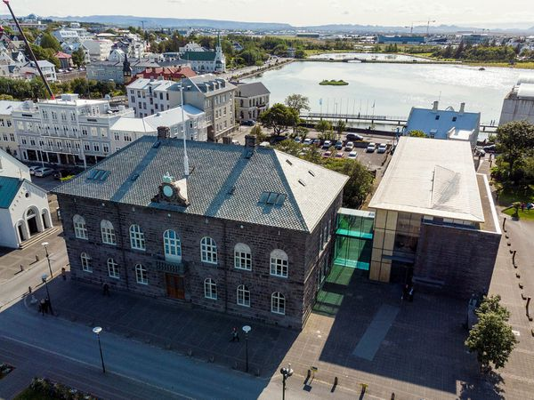 Alþingishúsið, the Icelandic parliamentary building.