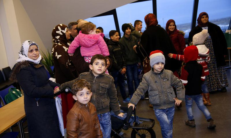 Some of the refugees who arrived in Iceland in January.