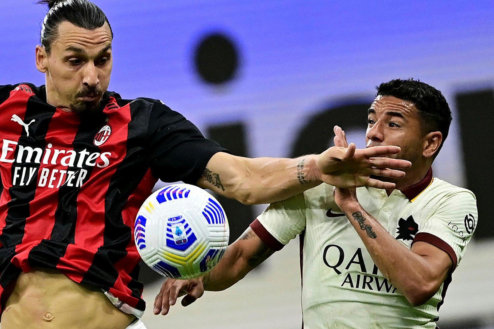 Zlatan Ibrahimovic í leik AC Milan og Roma.