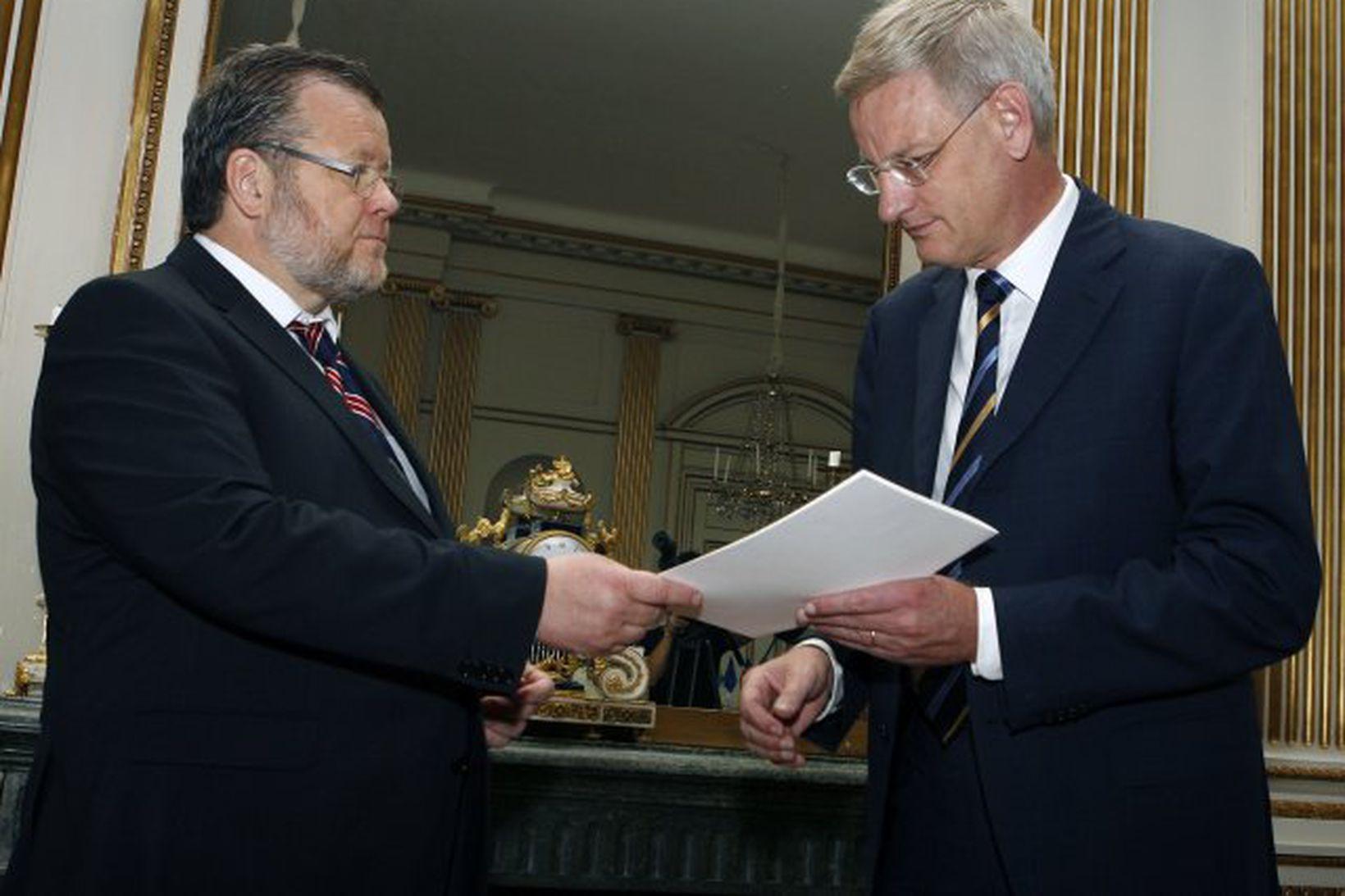 Össur Skarphéðinsson ásamt Carli Bildt í Stokkhólmi í morgun.
