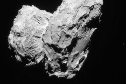 67P/Churyumov-Gerasimenko skiptist í tvo meginhluta sem tengdir eru saman með mjóum hálsi. Rosetta tók þessa …