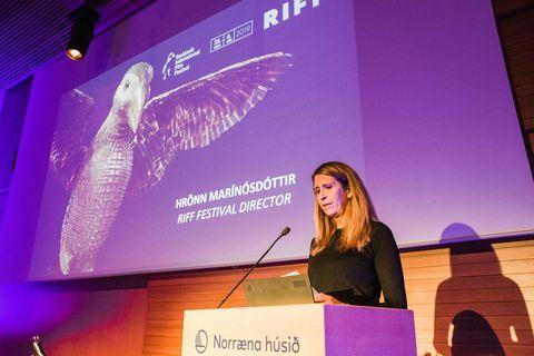 Hrönn Marinósdóttir stjórnandi RIFF á lokakvöldi kvikmyndahátíðarinnar í gær.