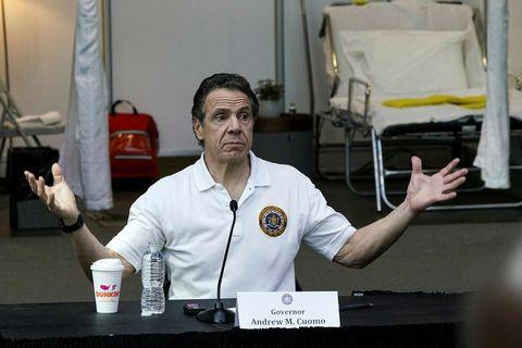 Andrew Cuomo, ríkisstjóri New York, á daglegum upplýsingafundi um kórónuveiruna í gær.