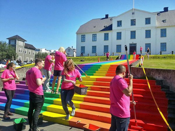 In 2016, the steps in front of Menntaskólinn í Reykjavík junior college were painted in celebration of Reykjavík Pride.
