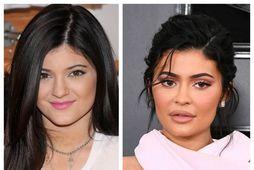 Kylie Jenner árið 2013 og árið 2019.