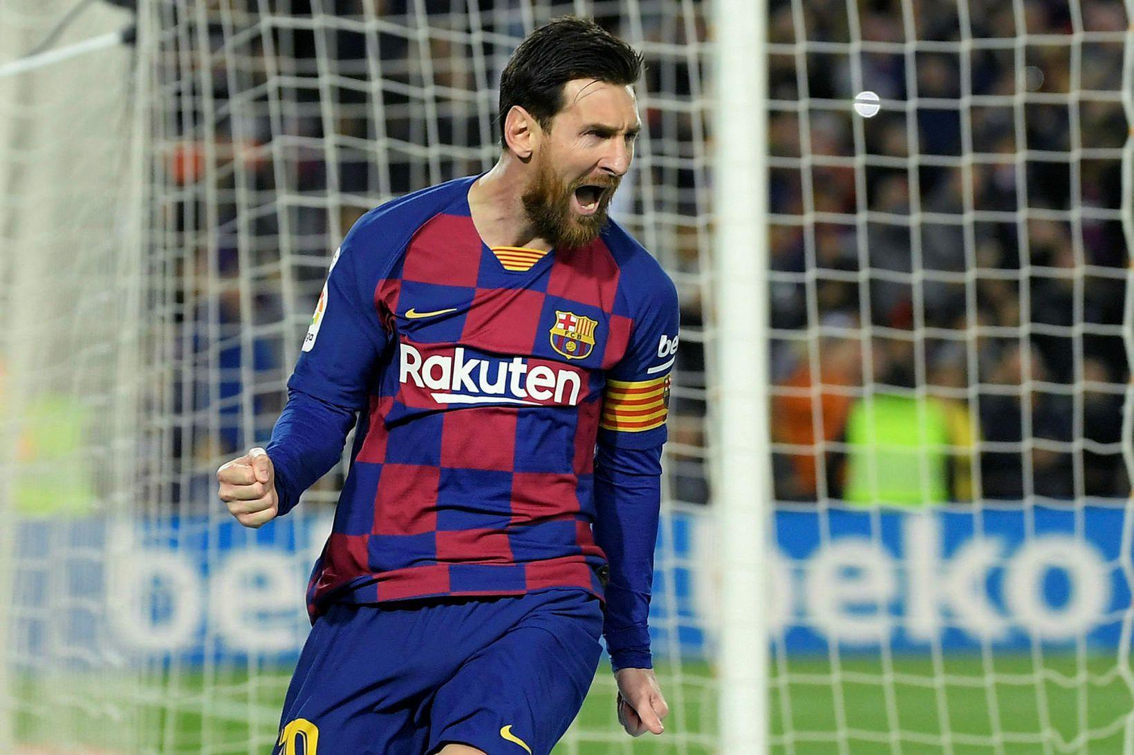 Lionel Messi og félagar í Barcelona eru á toppi spænsku …