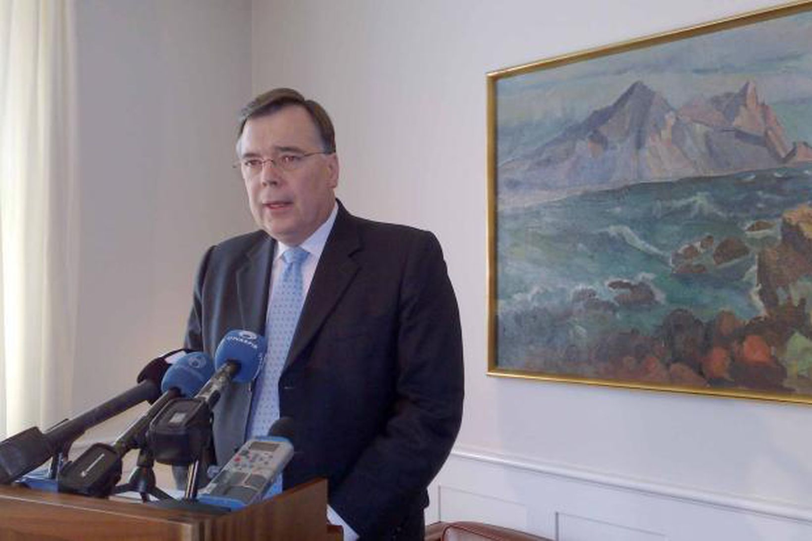 Geir H. Haarde, forsætisráðherra, á blaðamannafundi í stjórnarrráðinu í dag.
