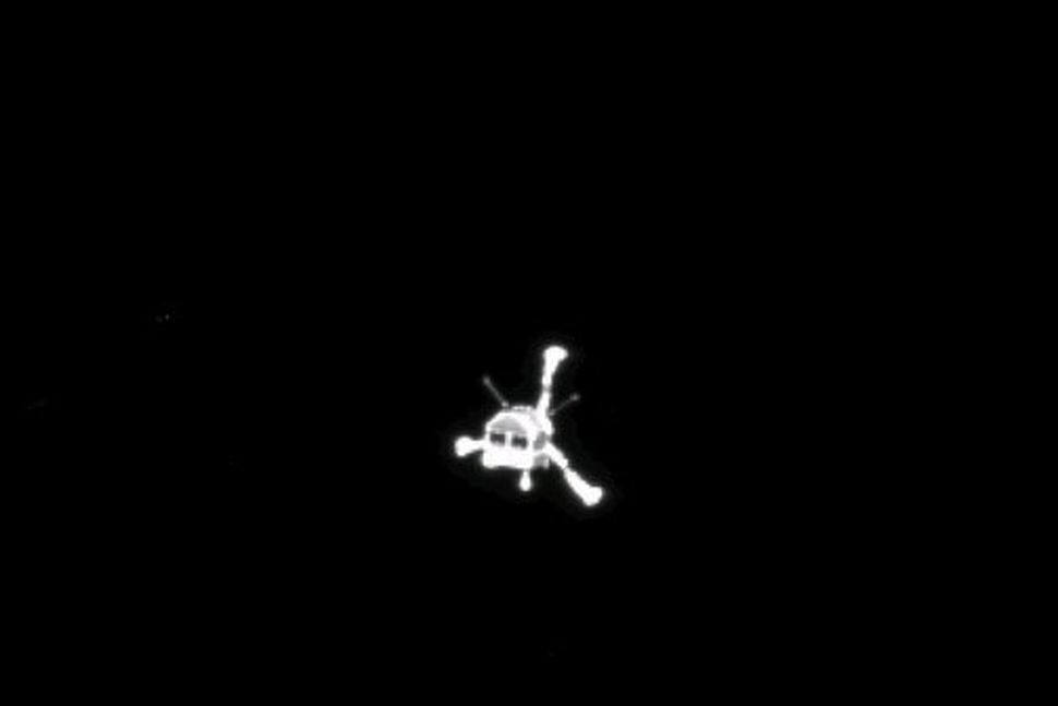 Mynd sem OSIRIS-myndvél Rosettu tók af Philae í kveðjuskyni.