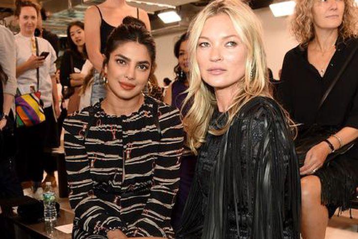Leikkonan Priyanka Chopra og Kate Moss á Longchamp tískusýningunni í ...