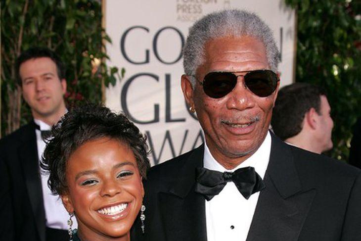 Morgan Freeman ásamt E'Dena Hines á Golden Globe-hátíðinni.