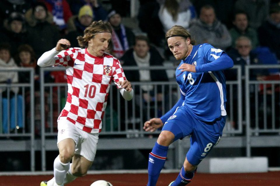 Luka Modric og Birkir Bjarnason