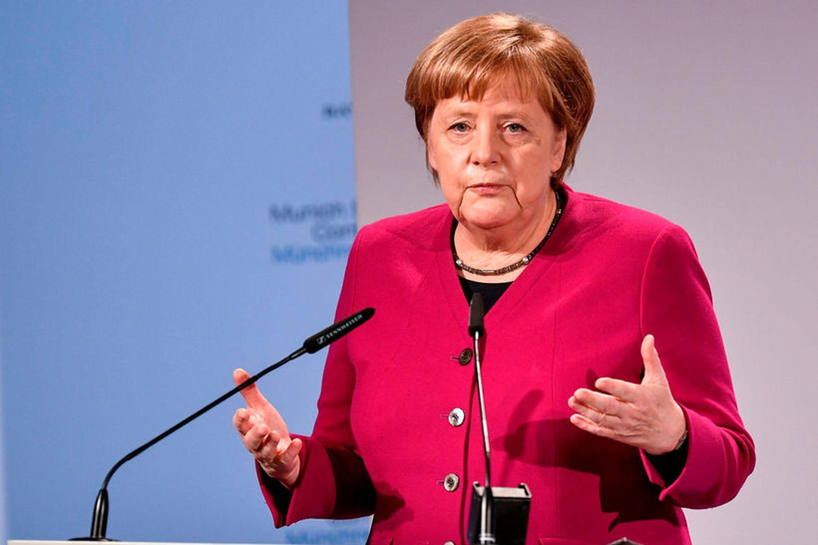 Angela Merkel, kanslari Þýskalands, á öryggisráðstefnunni.