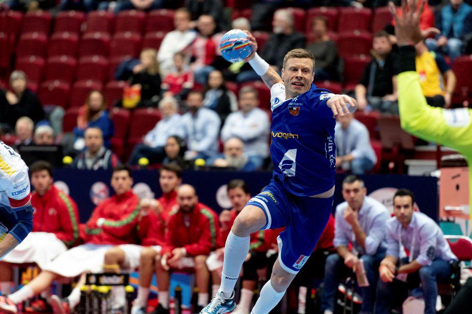 Guðjón Valur Sigurðsson á fleygiferð.