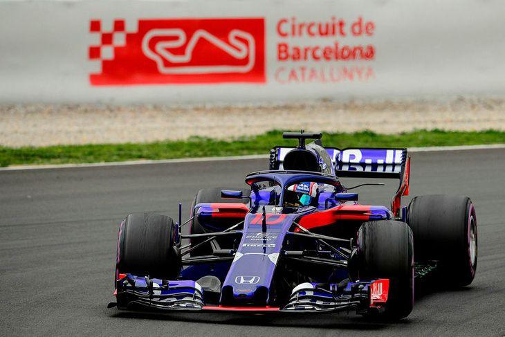 Frakkinn Pierre Gasly á Toro Rosso í Barcelona í dag en hann átti þriðja besta ...